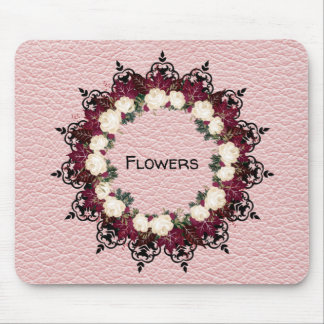 """Wreath """"Red Leaf"""" Flowers Floral Mousepad"""