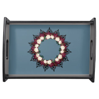 """Wreath """"Red Leaf"""" Flowers Floral Serving Tray"""