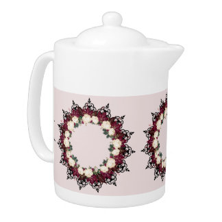 "Wreath ""Red Leaf"" Flowers Floral Teapot"