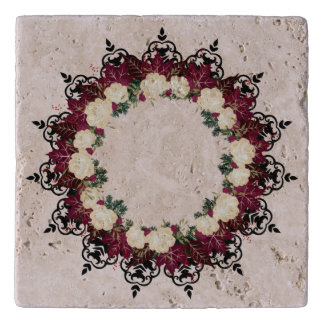 "Wreath ""Red Leaf"" Flowers Floral Trivet"