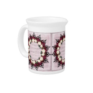 "Wreath ""Red Leaf"" Flowers Porcelain Pitcher"
