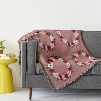 Wreath Red Wedding Flowers Floral Throw Blankets