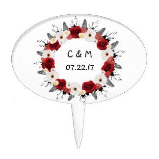 "Wreath ""Red Wedding"" White Flowers Cake Pick"