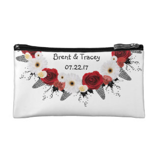 """Wreath """"Red Wedding"""" White Flowers Cosmetic Bag"""
