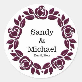Wreath roses round sticker