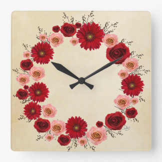 """Wreath """"Simple Circle"""" Pink/Red Flowers Clock"""