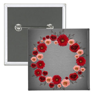 """Wreath """"Simple Circle"""" Red/Pink Flowers Button"""