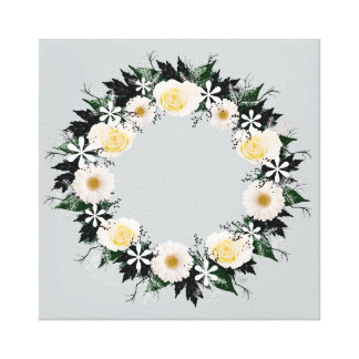 "Wreath ""Simple Star"" White Flowers Canvas Print"