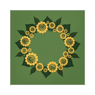 """Wreath """"Sun Fun"""" Yellow Flowers Notepad Stretched Canvas Prints"""