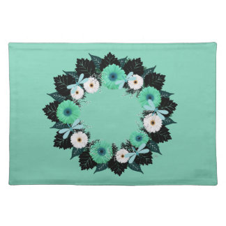 """Wreath """"Teal Dragonfly"""" Teal/White Flower Placemat"""