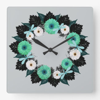 """Wreath """"Teal Dragonfly"""" Teal/White Flowers Clock"""