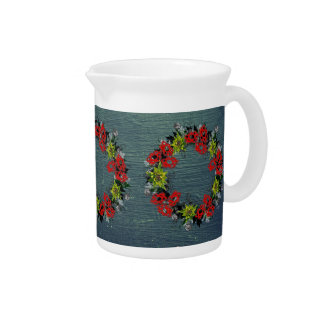 "Wreath ""Triple Flower"" Floral Porcelain Pitcher"