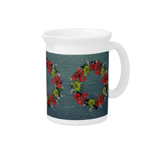 "Wreath ""Triple Flower"" Flowers Porcelain Pitcher"