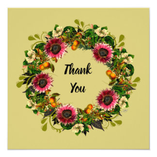 """Wreath """"Victoria Wedding"""" Flowers Floral Thank You Card"""
