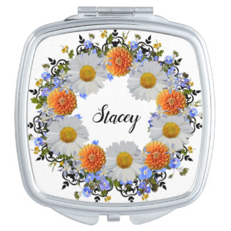 Wreath Wedding Flower Floral Vector Daisies Stacey Travel Mirror