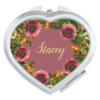 Wreath Wedding Flowers Floral Vector Gold Stacey Compact Mirrors