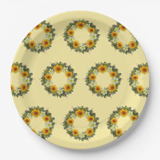 Wreath Wedding Flowers Floral Vector Reception Paper Plate