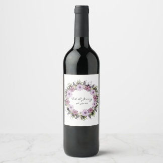 Wreath Wedding Flowers Floral Vector Thank You Wine Label