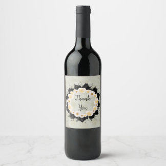 Wreath White Wedding Flowers Floral Wine Labels