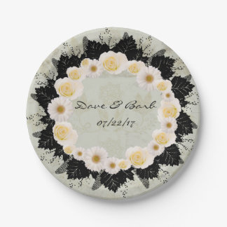 "Wreath ""White Wedding"" White Flowers Paper Plates 7 Inch Paper Plate"