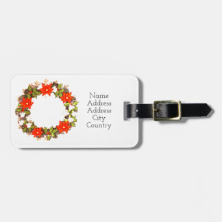 """Wreath """"Winter Roses"""" Flowers Floral Luggage Tag"""