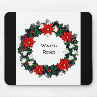 "Wreath ""Winter Roses"" Flowers Floral Mousepad"