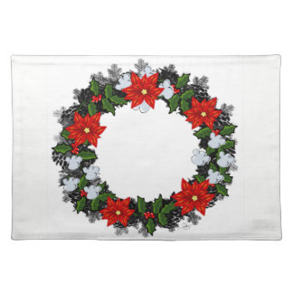 """Wreath """"Winter Roses"""" Flowers Floral Placemat"""