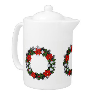 "Wreath ""Winter Roses"" Flowers Floral Teapot"