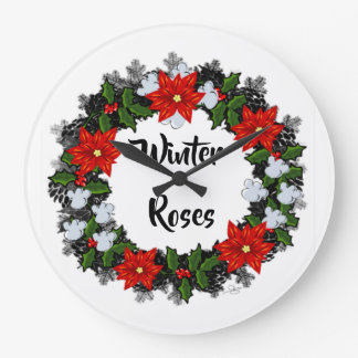 "Wreath ""Winter Roses"" Flowers Floral Vector Clock"