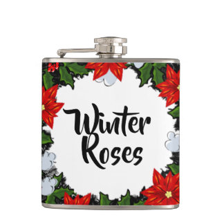 "Wreath ""Winter Roses"" Flowers Floral Vector Flask"