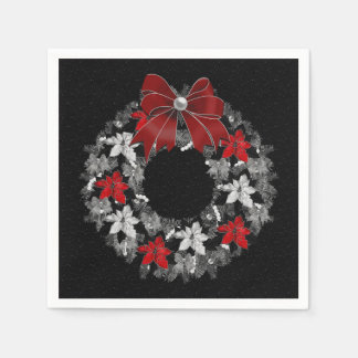 Wreath with Red Ribbon and Silver on Black Disposable Napkins