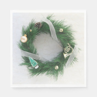 Wreath with silver ribbon disposable napkin