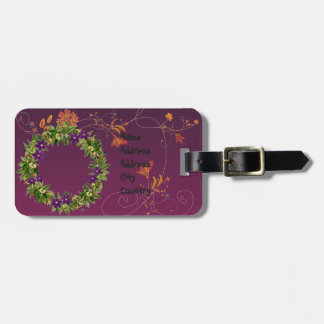 """Wreath """"Wow Purple"""" Flowers Floral Luggage Tag"""