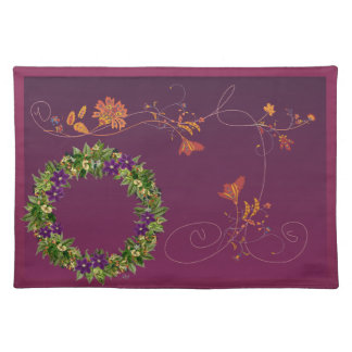 """Wreath """"Wow Purple"""" Flowers Floral Placemat"""