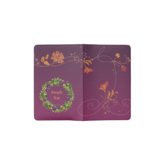"Wreath ""Wow Purple"" Flowers Floral Pocket Notebook"