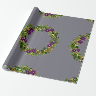 """Wreath """"Wow Purple"""" Flowers Floral Wrapping Paper"""