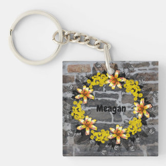 """Wreath """"Yellow Yellow"""" Flowers Floral Keychain"""