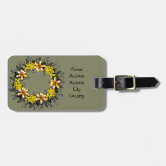 """Wreath """"Yellow Yellow"""" Flowers Floral Luggage Tag"""