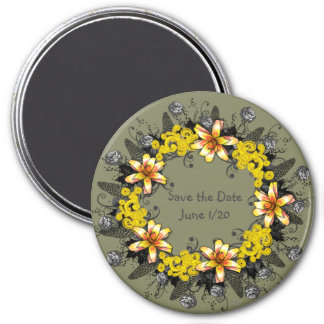 "Wreath "" Yellow Yellow"" Flowers Floral Magnet"