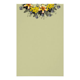 """Wreath """"Yellow Yellow"""" Flowers Floral Stationery"""