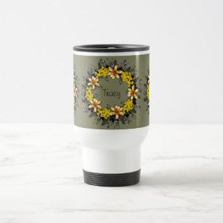 "Wreath ""Yellow Yellow"" Flowers Floral Travel Mug"