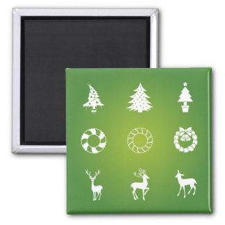 Wreathes Reindeer and Christmas Trees Silhouette Magnet