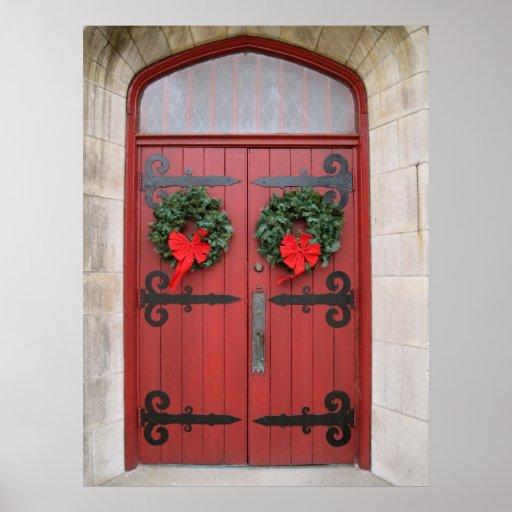 Wreaths on Red Door Print