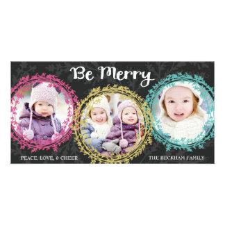 Wreaths Three Photo Holiday Photo Card / Gray