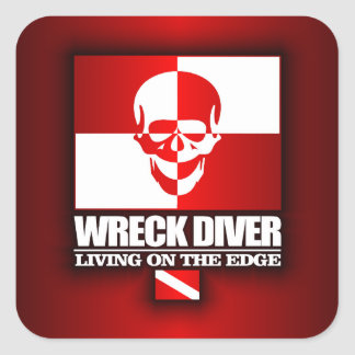 Wreck Diver -Living On The Edge Square Sticker