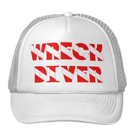 Wreck Diver Text Style Trucker Hats