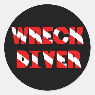 Wreck Diver Text Style Round Sticker