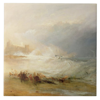 Wreckers - Coast of Northumberland, With a Steam B Large Square Tile
