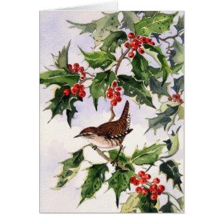 Wren in a Holly Bush Card