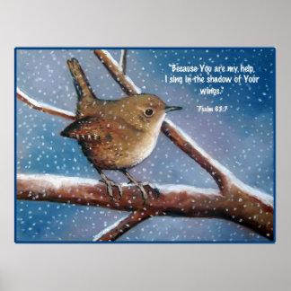 WREN IN WINTER: ART: BIBLE VERSE, PSALMS POSTER